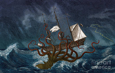 Kraken Attacking Ship, 1700 Art Print
