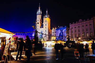 Krakow By Night Art Print by Pati Photography