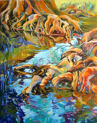 Tree Roots Painting - Krause Springs Creepers by Rae Andrews