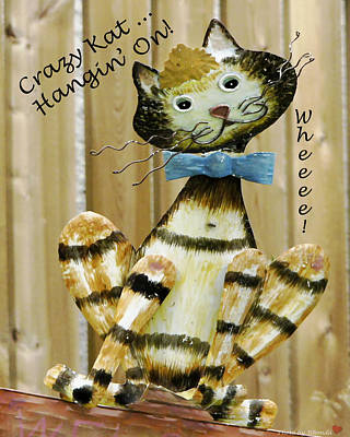 Art Print featuring the photograph Krazy Kat Hangin On by Rhonda McDougall