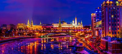 Illuminated Wall Decorations Photograph - Kremlin At Winter Night by Alexander Senin