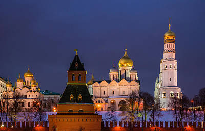 Kremlin Cathedrals At Night - Featured 3 Art Print by Alexander Senin
