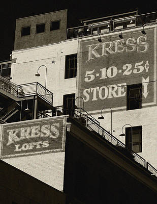 Photograph - Kress Store Bw By Denis Dube by Denise Dube