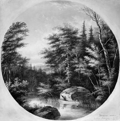 Quebec Painting - Krieghoff Canoe On Stream by Granger