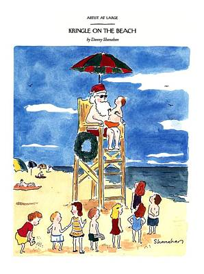 Bathing Suit Drawing - Kringle On The Beach by Danny Shanahan
