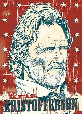 Johnny Cash Digital Art - Kris Kristofferson Pop Art by Jim Zahniser