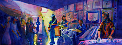 Painting - Kris Lager Band At Sanchos Broken Arrow by David Sockrider