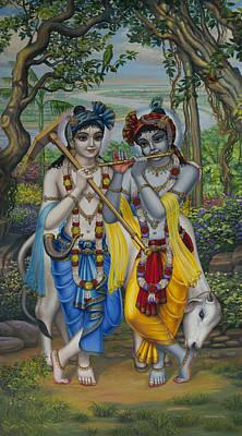 Krishna And Balaram Art Print by Vrindavan Das