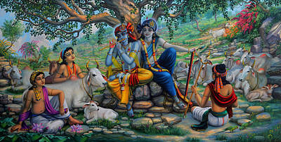 Krishna And Balaram With Friends On Govardhan Hill Art Print by Vrindavan Das