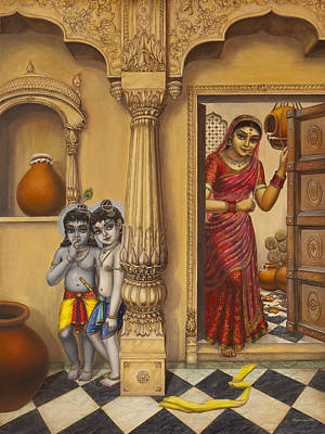 Krishna And Ballaram Butter Thiefs Art Print by Vrindavan Das