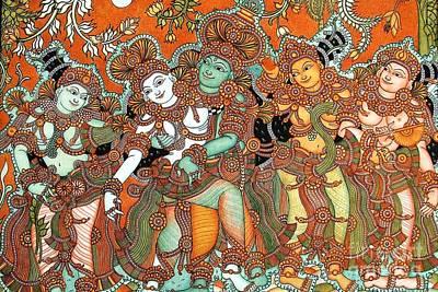 Kerala Painting - Krishna And Radha Kalyanam by Pg Reproductions