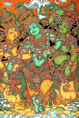 Kerala Painting - Krishna And The Gopis by Pg Reproductions
