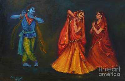 Painting - Krishna Appears To The Gopis by Asha Sudhaker Shenoy