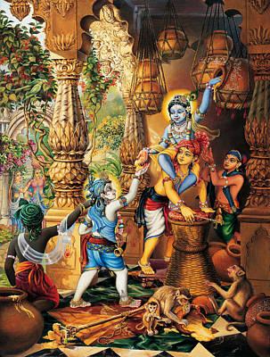 Temple Painting - Krishna Balaram Stealing Butter by Vrindavan Das