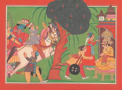 Mahabharata Painting - Krishna Balram Hindu King God India Miniature Painting  by A K Mundhra
