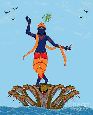 Krishna Dancing On Kaliya Art Print