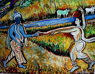 Art Print featuring the painting Krishna In   Madhura  by Anand Swaroop Manchiraju