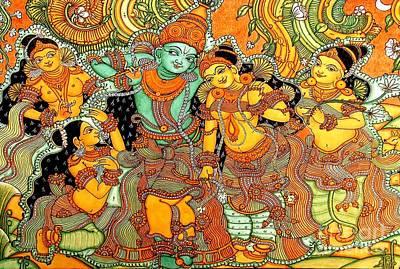 Kerala Painting - Krishna In Vrindavan by Pg Reproductions