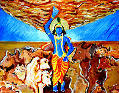 Art Print featuring the painting Krishna Lifting Govardhan Hill by Anand Swaroop Manchiraju