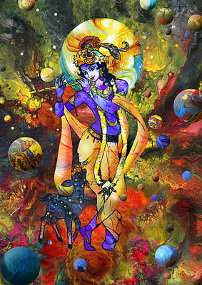 Mixed Media - Krishna With A Star Deer by Lila Shravani