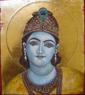 Egg Tempera Painting - Krishna by Mary jane Miller
