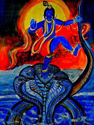 Art Print featuring the painting Krishna On Kalindimardan by Anand Swaroop Manchiraju