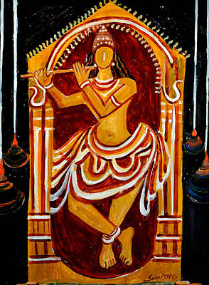 Painting - Krishna  Playing Fluit by Anand Swaroop Manchiraju