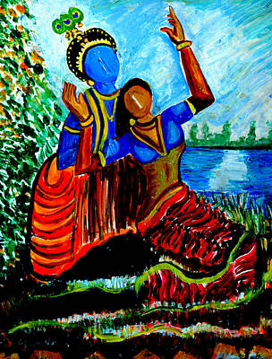 Art Print featuring the painting Krishna  Playing With Radha by Anand Swaroop Manchiraju