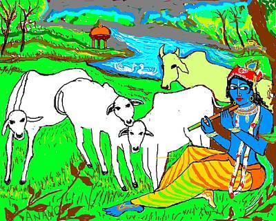 Krishna With Cows Art Print by Anand Swaroop Manchiraju