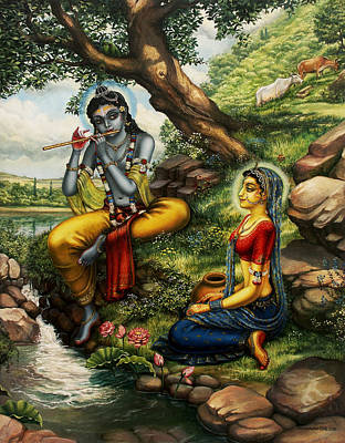 Krishna With Radha Print by Vrindavan Das