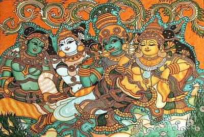 Kerala Painting - Krishna Wooing Radha by Pg Reproductions