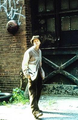 Brick Sidewalks Photograph - Kristen Mcmenamy Wearing A Calvin Klein Ensemble by Arthur Elgort