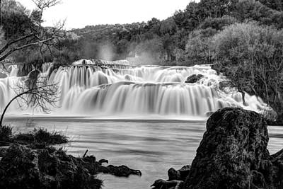 Photograph - Krka Waterfalls Bw by Ivan Slosar