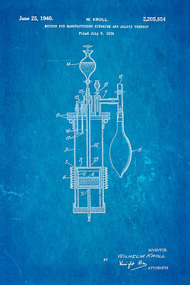 Titanium Photograph - Kroll Titanium Manufacture Patent Art 1940 Blueprint by Ian Monk