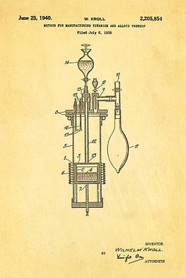 Manufacture Photograph - Kroll Titanium Manufacture Patent Art 1940 by Ian Monk