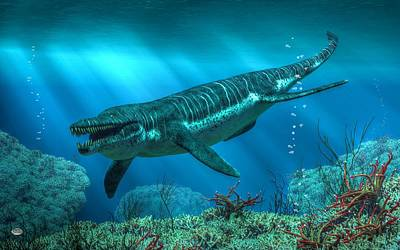 Triassic Digital Art - Kronosaurus by Daniel Eskridge