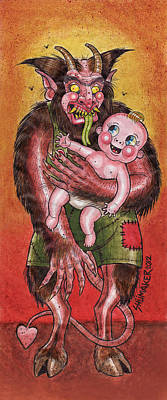 Prison Painting - Krumpus And Baby New Year by David Shumate