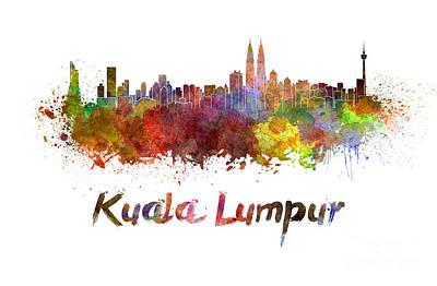 Kuala Lumpur Skyline In Watercolor Art Print by Pablo Romero