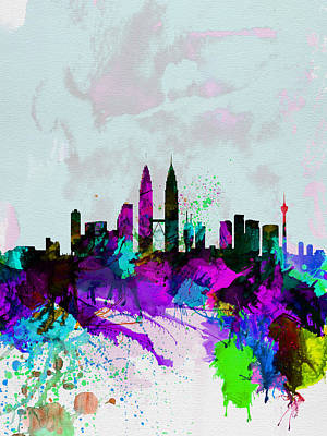 Landscapes Digital Art - Kuala Lumpur Watercolor Skyline by Naxart Studio