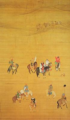 Camel Photograph - Kublai Khan 1214-94 Hunting, Yuan Dynasty Ink & Colour On Silk See 110534 & 226021 For Detail by Liu Kuan-tao