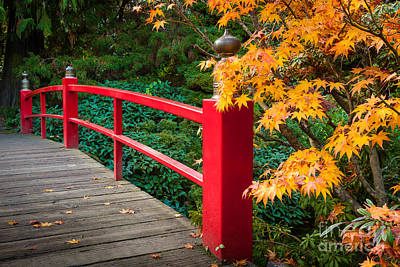 Fall Foliage Photograph - Kubota Gardens Bridge Railing Number 1 by Inge Johnsson