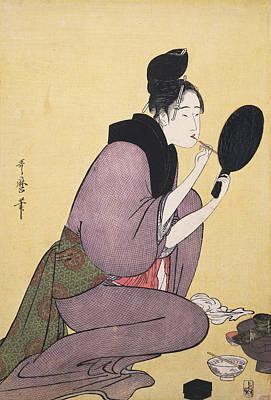 Kuchi-beni = Painting The Lips, Kitagawa Art Print