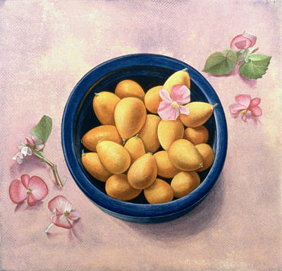Negative Space Painting - Kumquats And Blossoms by Tomar Levine