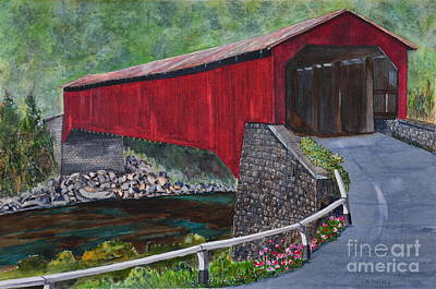 Painting - Kunkle's Mill Covered Bridge by John W Walker