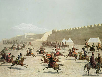 Horseman Drawing - Kurdish And Tatar Warriors At Sadar by Grigori Grigorevich Gagarin