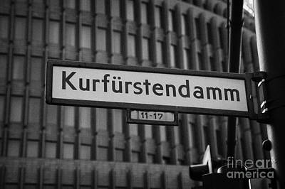 Kudamm Photograph - Kurfurstendamm Street Sign Berlin Germany by Joe Fox