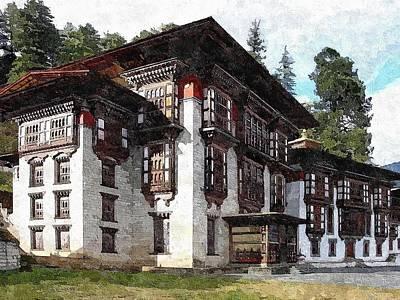 Bhutan Painting - Kurjey Monastery by Maciek Froncisz