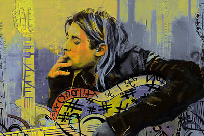 Music Paintings - Kurt Cobain by Corporate Art Task Force