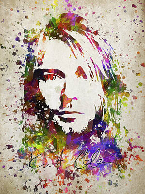 Musicians Digital Art Rights Managed Images - Kurt Cobain in Color Royalty-Free Image by Aged Pixel