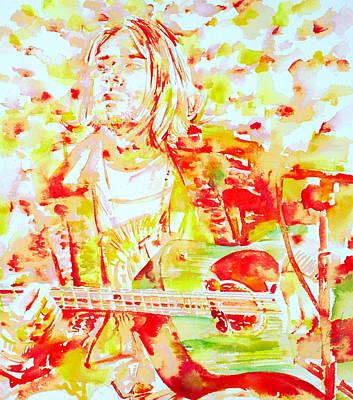 Kurt Cobain Painting - Kurt Cobain Live Concert - Watercolor Portrait by Fabrizio Cassetta